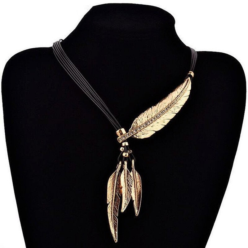 Leather Rope Feather Pendant