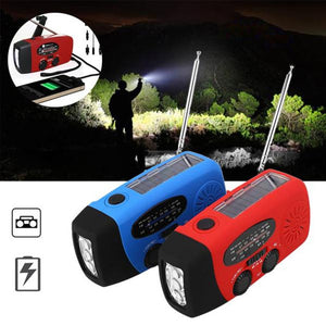 No Electricity No problem Charger With solar charge + Power Bank + LED Flashlight & FM Radio+ Rotar charge