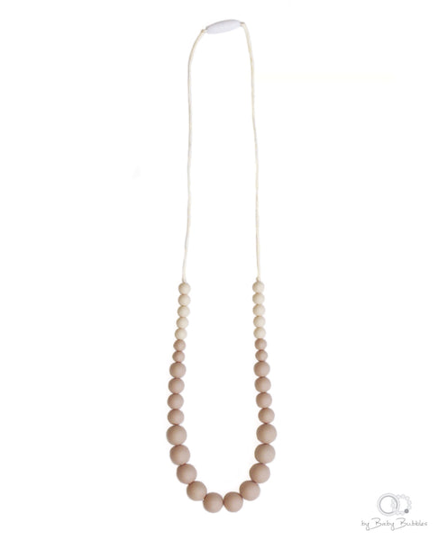Beige silicone baby teething necklace