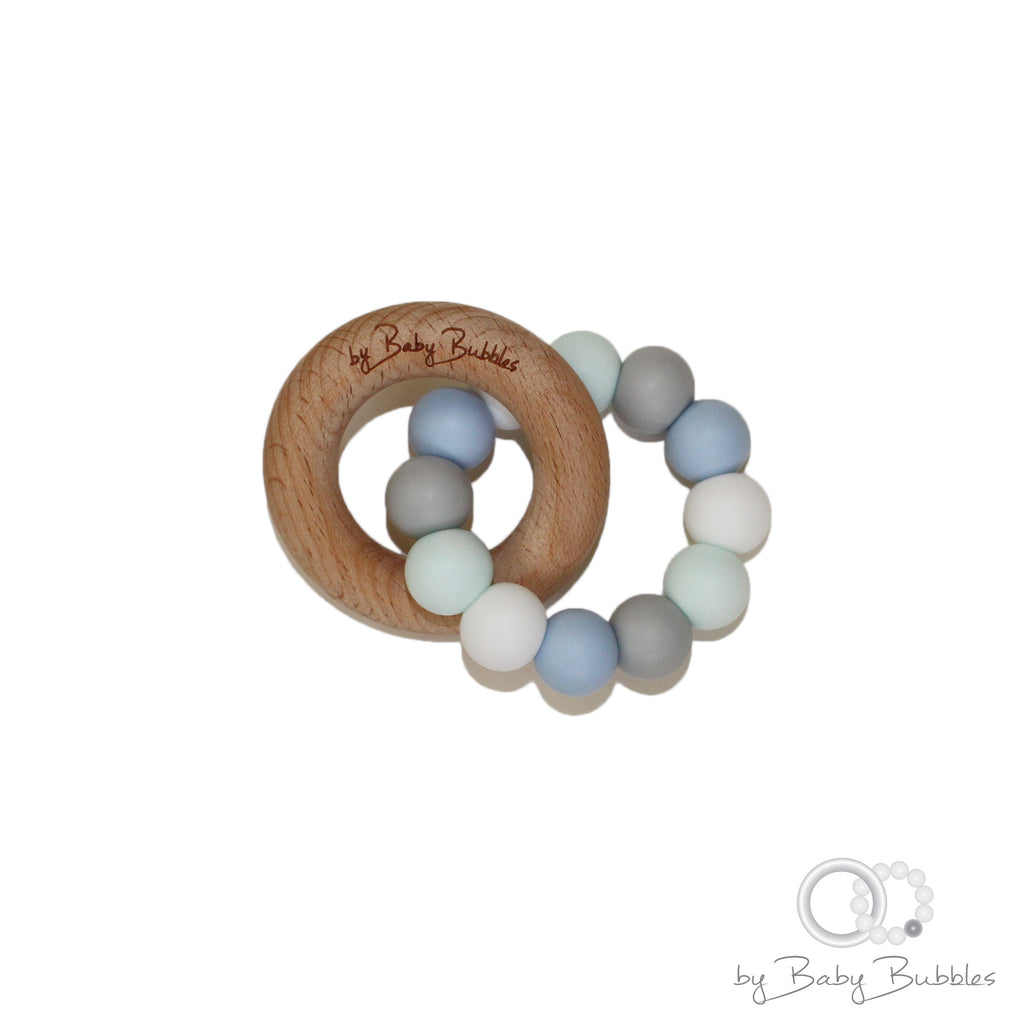 Pastel blue and green teething ring for baby