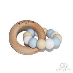 Pastel blue, cream and white silicone and wood baby teething ring
