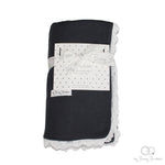 Dark grey organic cotton baby blanket with lace trim