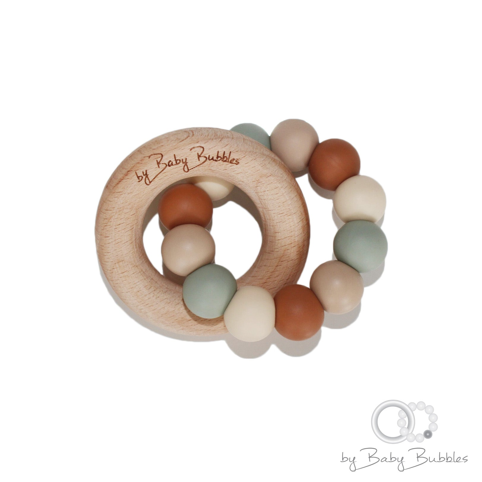Silicone baby teething ring in earthy colors and wooden ring