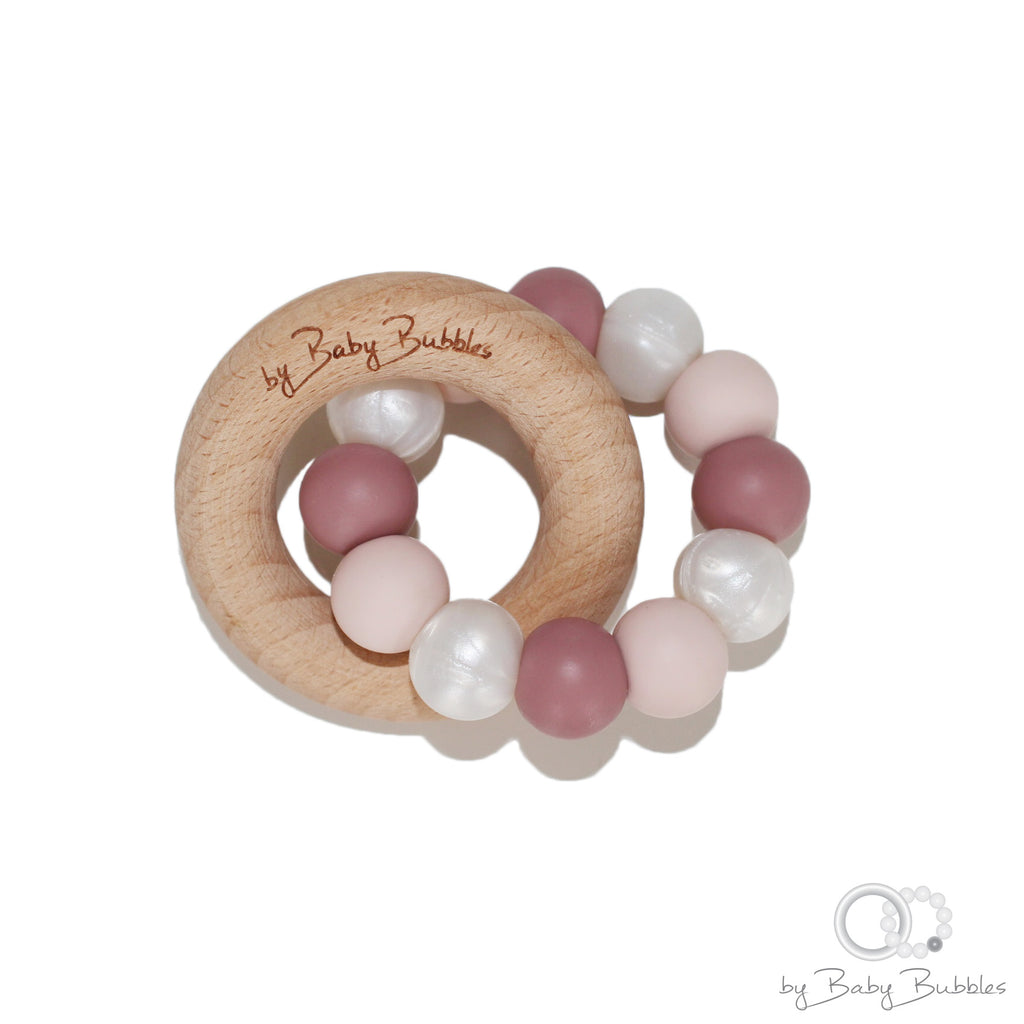 Girly baby silicone teething ring light pink and dark pink