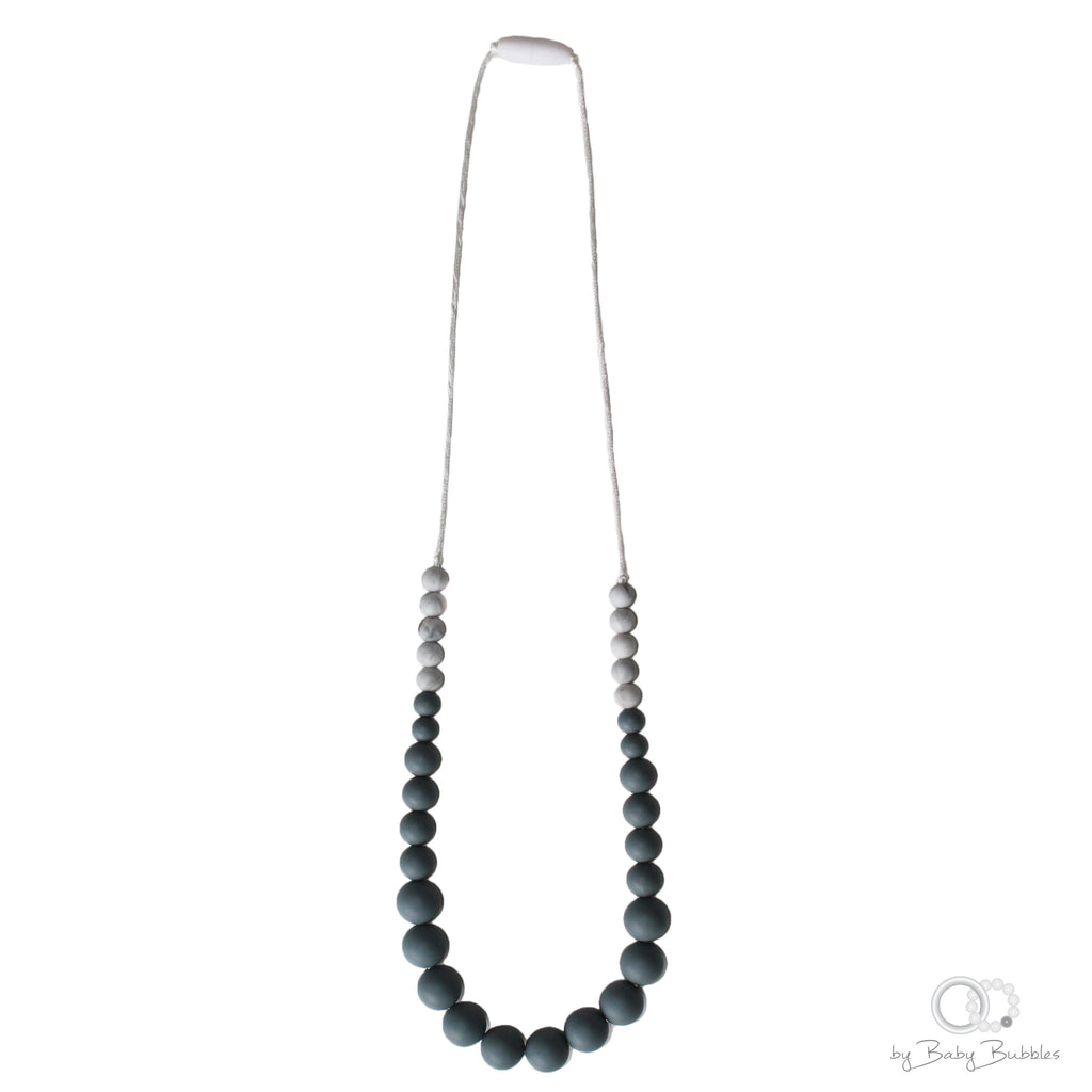Grey and marble silicone teething necklace