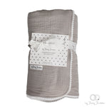 Sand stone baby cotton blanket with small lace trim