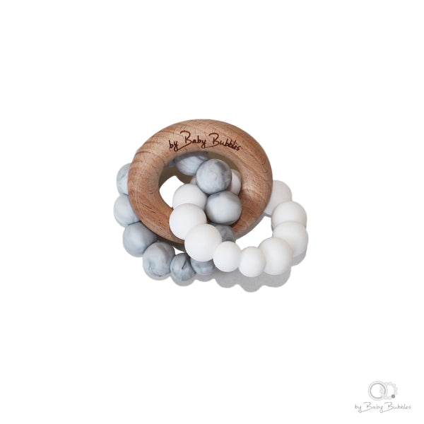Marble and white silicone and wood teething toy for baby