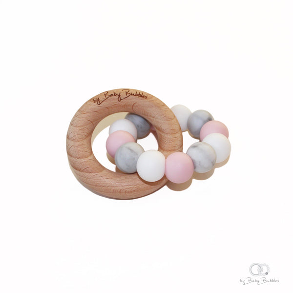Marble, pink and wood silicone and wood baby teether