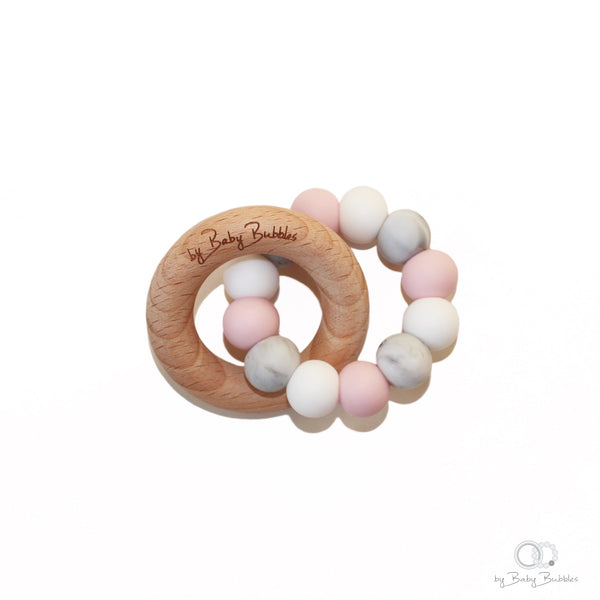 Pink, marble and wood silicone and wood teething ring