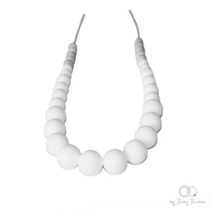White and marble silicone teething necklace