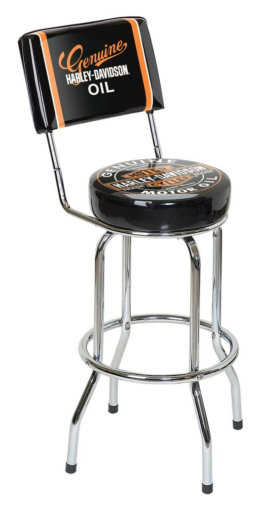 HARLEY DAVIDSON H-D Oil Can Bar Stool w/ Backrest