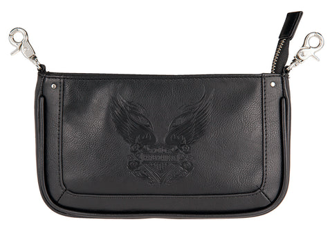Women's Harley-Davidson Rose Tattoo Pouch, Black - HDWBA11181-BLK