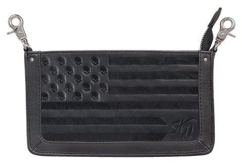 Women's Harley-Davidson Skulls and Stripes Pouch, Black - HDWBA11206-BLK