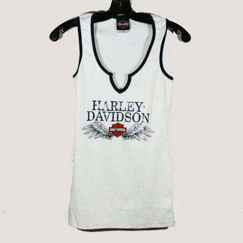 Womens Harley-Davidson Notched Tank - White
