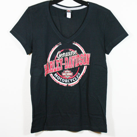 Women's Genuine Harley-Davidson Curve V-Neck Tee, Black