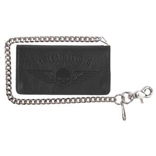 Harley-Davidson Men's Genuine American Bison Willie G Skull Biker Bi-Fold Tall Wallet, Black
