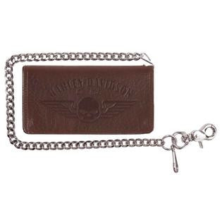 Harley-Davidson® Men's Genuine American Bison Willie G Skull Biker Bi-Fold Tall Wallet, Brown