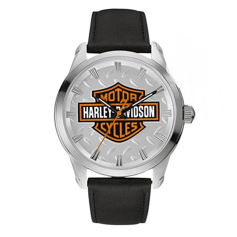 Harley-Davidson Men's Willie G Skull Medallion Watch, Leather 76A156 By Bulova