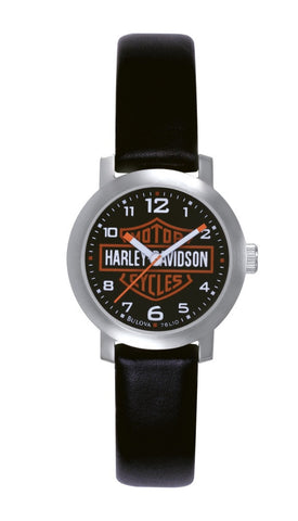 Harley-Davidson Men's Bar and Shield, Leather Strap Watch. 76A04 By Bulova