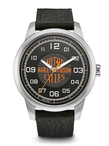 Harley-Davidsonå¨ Men's Orange Harley Davidson Logo Watch, Leather Strap, 76A155 By Bulova