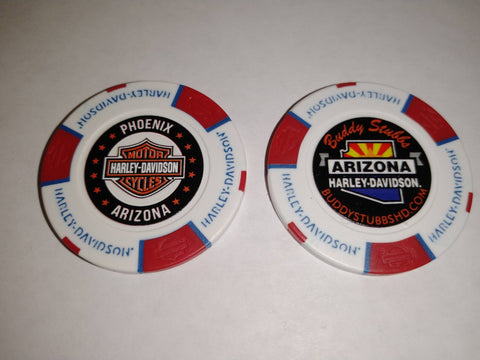 Buddy Stubbs Harley-Davidson Poker Chip - Blue & Red on White