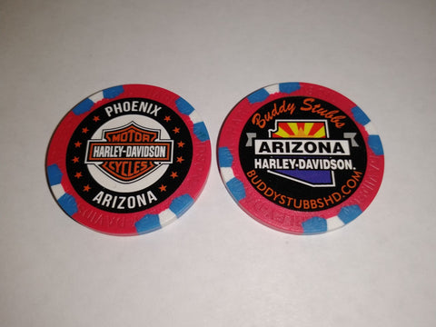Buddy Stubbs Harley-Davidson Poker Chip - Blue & White on Red