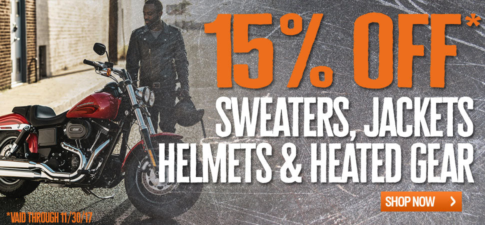 15% off boots, jackets and gloves
