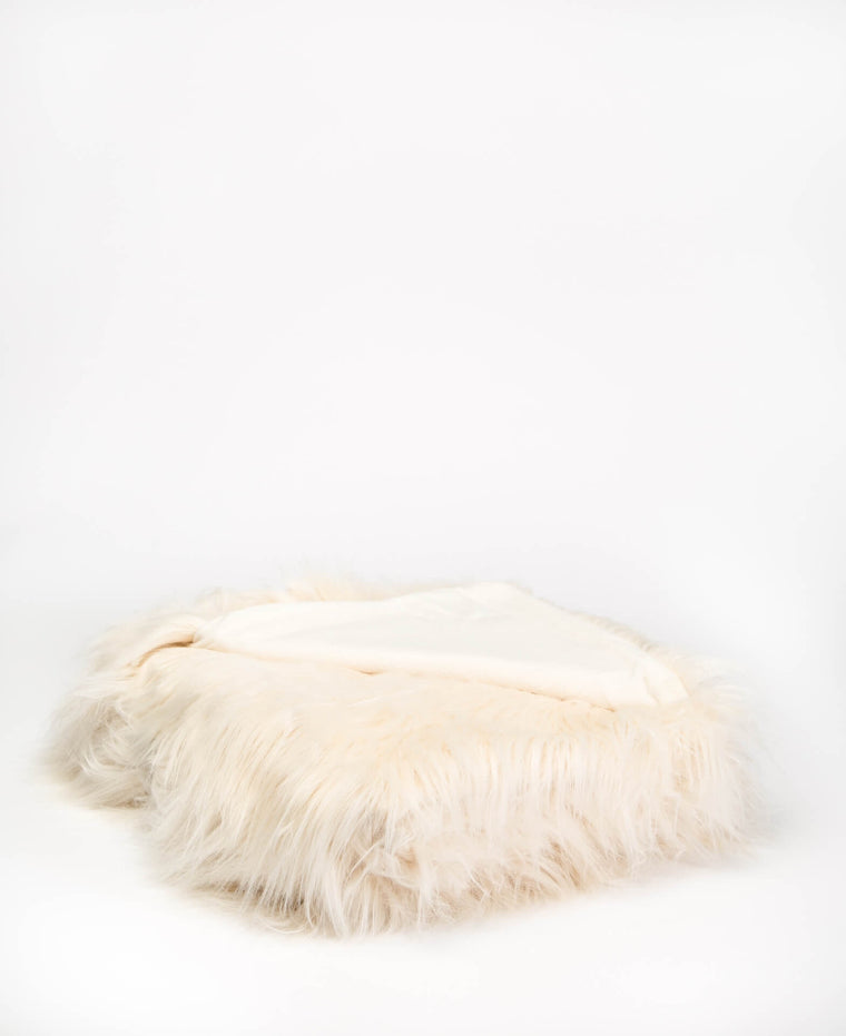 Ivory Faux Fur Throw