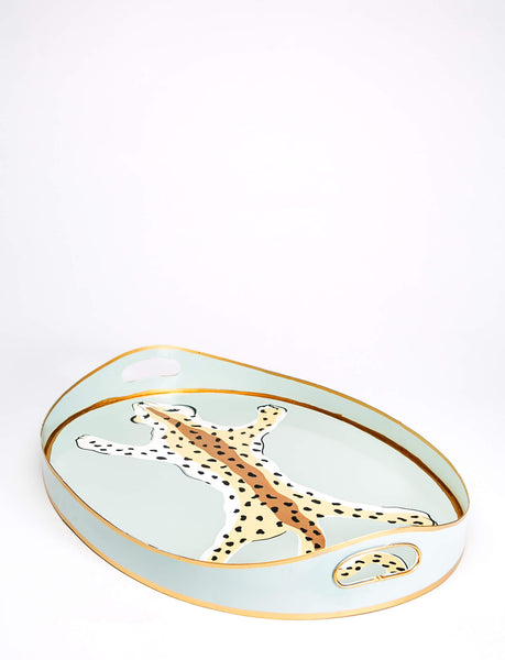 Oval Leopard Tray