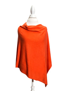 Orange Wool and Cashmere Poncho