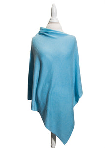 Carolina Blue Wool and Cashmere Poncho