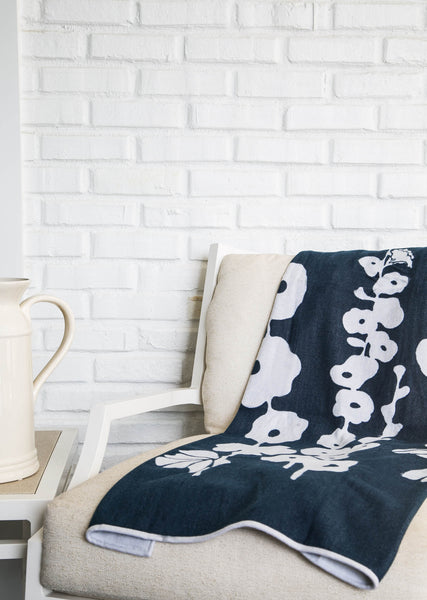 Indigo Hollyhock Throw