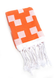Hand Towel Diamond Weave Orange