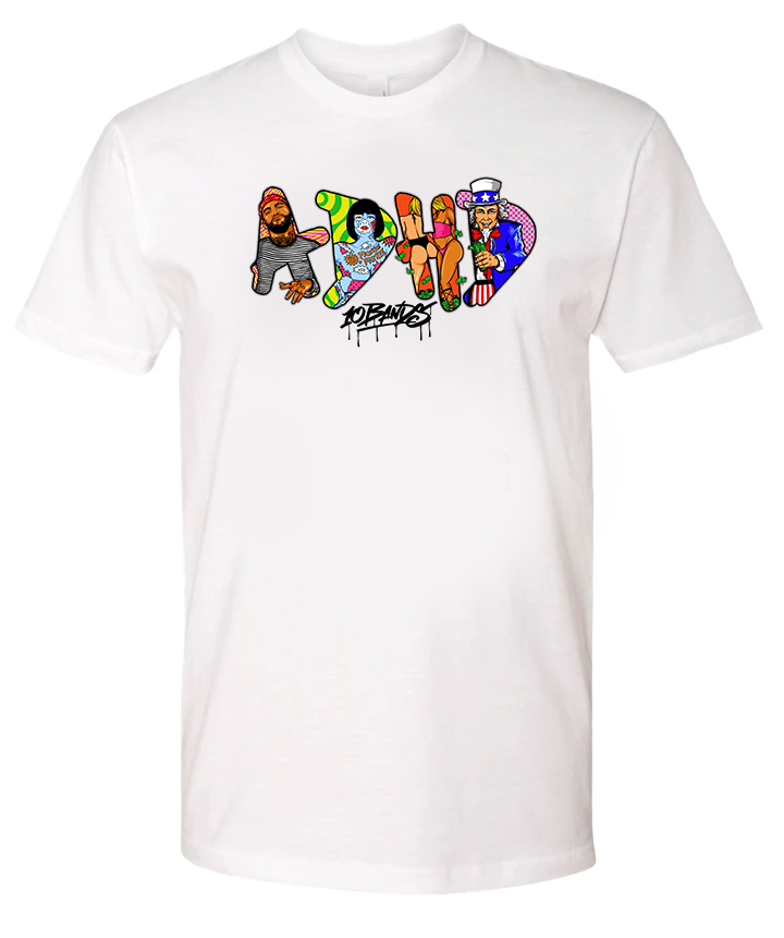 ADHD White 10 Bands Tee