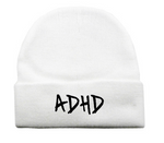 White ADHD Beanie + Instant ADHD Digital Download