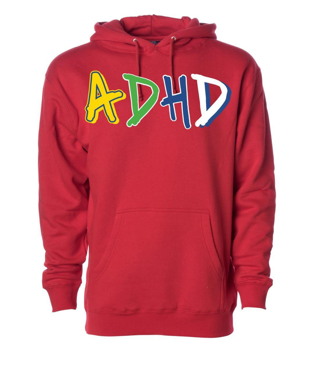 Red ADHD Hoodie + Instant ADHD Digital Download