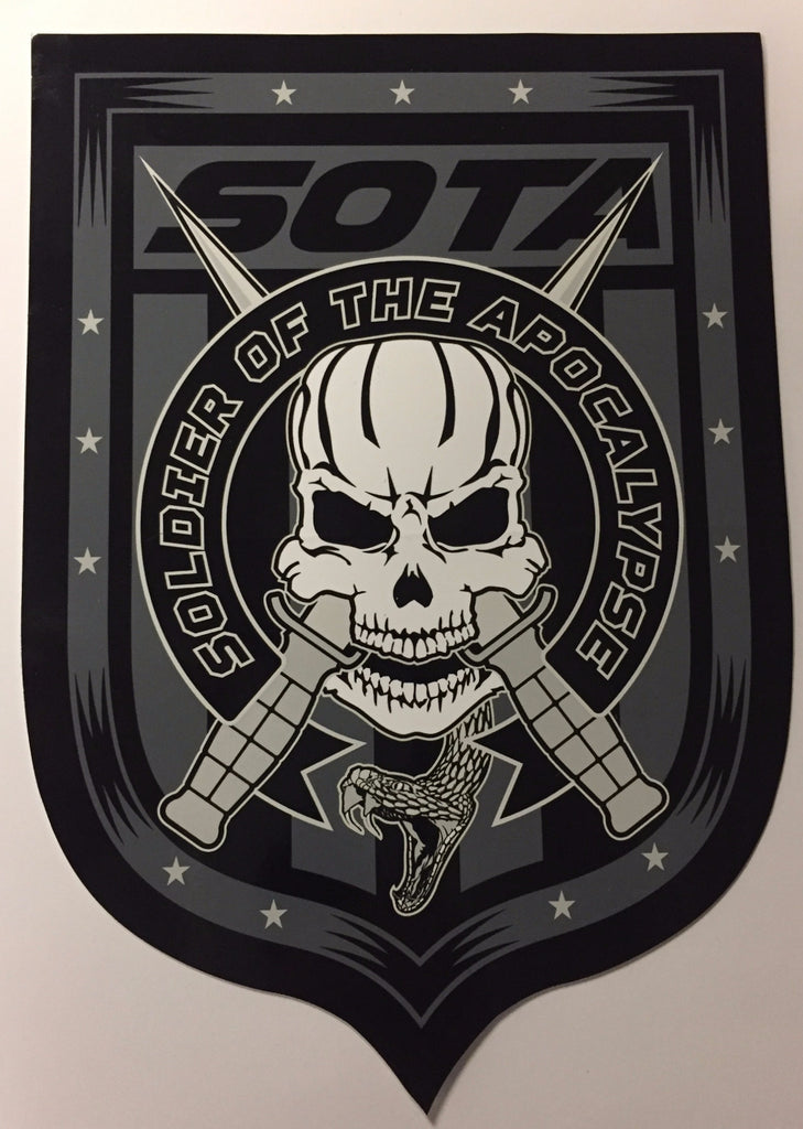Soldier of the apocalypse skully sticker