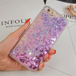 Love Heart Glitter Stars Dynamic Liquid Quicksand Case For iPhone - Aladdin's Treasures