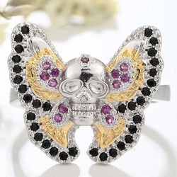 Gothic Butterfly Skull Ring - Aladdin's Treasures