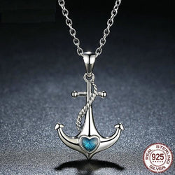 Classic 925 Sterling Silver Blue Heart Crystal Anchor Pendant - Aladdin's Treasures