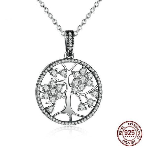 Classic 925 Sterling Silver Tree of Life Pendant Necklace - Aladdin's Treasures