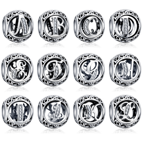 100% Authentic Sterling Silver Crystal Alphabet Letter Bead Charm - Aladdin's Treasures