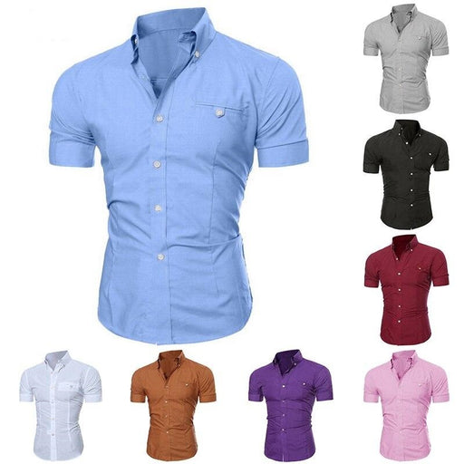 2019 Men's Business Lapel Button Down Short Sleeve Slim Fit Shirt - Aladdin's Treasures