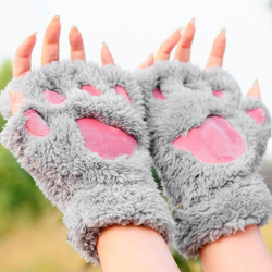 Halloween Ready Plush Cat Gloves - Aladdin's Treasures