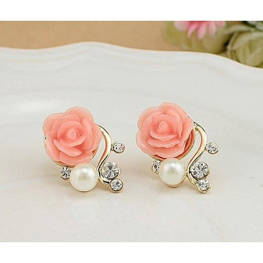 Pearl Rose Flower Earrings - Aladdin's Treasures