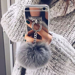 Luxury Soft Mirror Fur Ball iPhone Case - Aladdin's Treasures