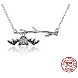 Sterling Silver Bat on Branch Necklaces - Aladdin's Treasures