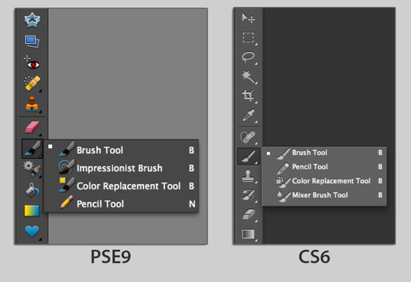 photoshop brushes fly-out