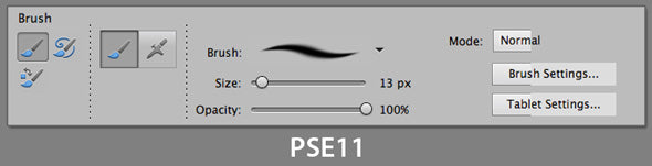 photoshop PSE11 brush options
