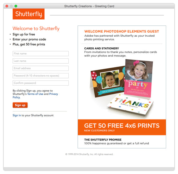 sharing cards in photoshop elements